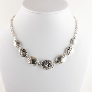 Silver Tone Floral Textured Chain Link Necklace